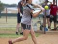 female softball batter