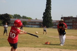 Juniors hitting in junior baseball sessions in summer 2013