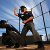 KISSIMMEE, FL - JANUARY 27:  A student makes a call in a simulated baseball game during the Jim Evans Academy of Professional Umpiring on January 27, 2011 at the Houston Astros Spring Training Complex  in Kissimmee, Florida.  Jim Evans was a Major League Umpire for 28 years that included umpiring four World Series.  Many of his students have gone on to work on all levels of baseball including the Major Leagues.  (Photo by Al Bello/Getty Images)