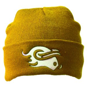 knitted hat gold